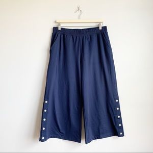 Aerie Cropped Sweat Pants Wide Flare Leg Crop L